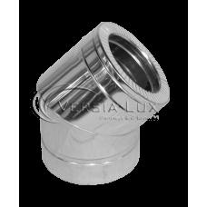 Колено 45º из нержавеющей стали с теплоизоляцией в нержавеющем кожухе: толщина стенки внутренней трубы - 0,6 мм; Ø от 100 до 360 мм
