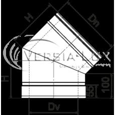 Колено 45º из нержавеющей стали с теплоизоляцией в оцинкованном кожухе: толщина стенки внутренней трубы - 0,6 мм; Ø от 100 до 360 мм