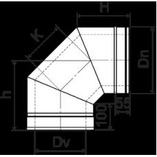Колено 90º из нержавеющей стали с теплоизоляцией в оцинкованном кожухе: толщина стенки внутренней трубы - 0,6 мм; Ø от 100 до 360 мм