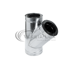 Тройник 45º из нержавеющей стали с теплоизоляцией в оцинкованном кожухе: толщина стенки внутренней трубы - 0,6 мм; Ø от 100 до 360 мм